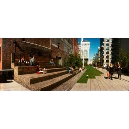 People on the street in a city High Line Chelsea Manhattan New York City New York State USA Canvas Art - Panoramic Images (15 x 6)
