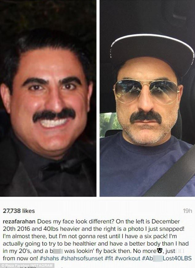 New year new him: Reza Farahan from Shahs Of Sunset has revealed he dropped an incredible 40 pounds after deciding to get healthy in December and took to Instagram on Monday to celebrate his weight loss by sharing a number of before and after pictures of himself