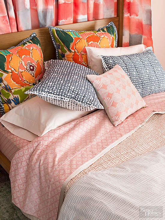 Quick Decorating Tip - Sheet Swap Swap your linens. Combine pillow cases from one set with sheets from another.