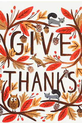 give thanks, autumn, lettering, acorn, squirrel, thanks giving, greeting card, leaves, owl, nature, illustration
