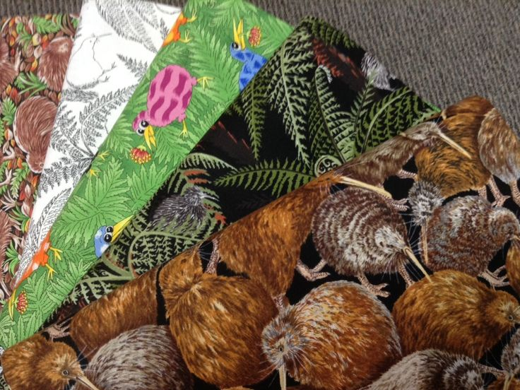NZ themed 100% cotton quilting fabric. Kiwis.