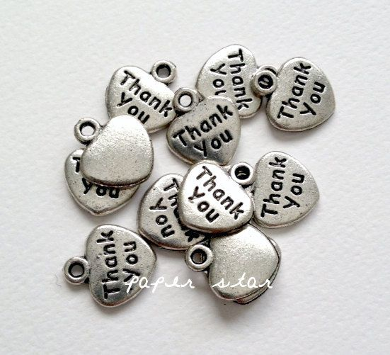 Charm 'Thank you' Silver Bomboniere Favour Gift Card - 25 pieces