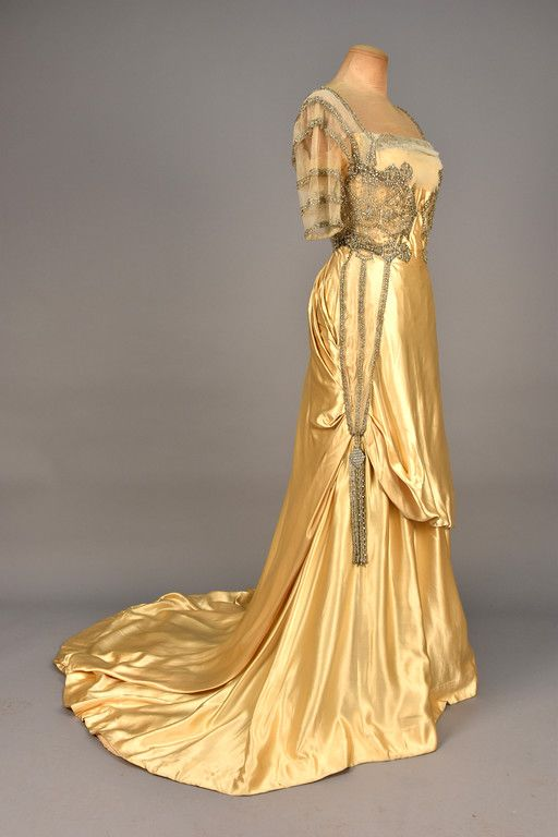 WORTH PARIS TRAINED SATIN EVENING DRESS with PASTE JEWELS, 1910-1912