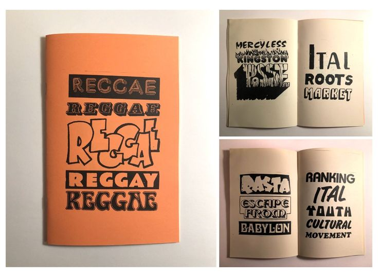 REGGAE - Peter FurmanThis zine is made up of pieces of type, most of which cut from classic reggae album covers, reformatted into phrases that are recurring in reggae lyrics. I aim to pay homage ...