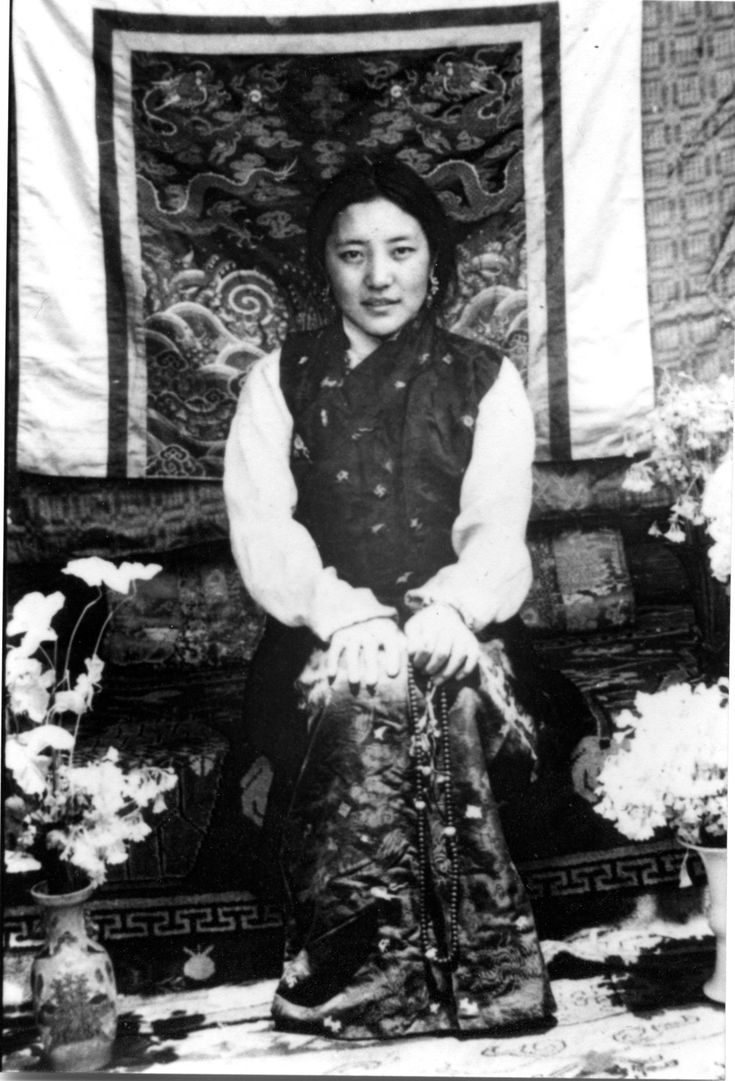 Her Holiness Khandro Tsering Chödrön (1929-2011) in her youth, spiritual wife of Jamyang Khyentse Chökyi Lodrö (1893-1959), universally acknowledged as one of the foremost female practitioners of Tibetan Buddhism of recent times and considered to be an emanation of Shelkar Dorje Tso (a consort of Guru Rinpoche).