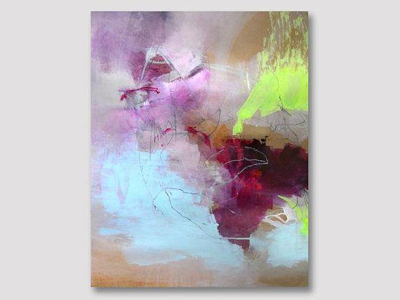 Ursprungliche Abstrakte Malerei Auf Papier Bunte Acryl Abstrakte