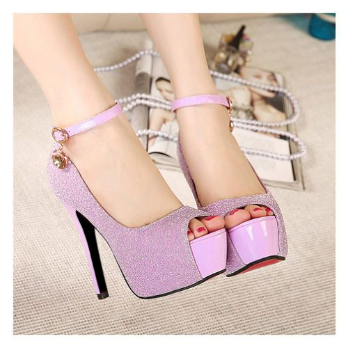 US$ 59 Pink Womens Sequin Peep Toe Ankle Strap Stiletto High Heels Pumps Shoes