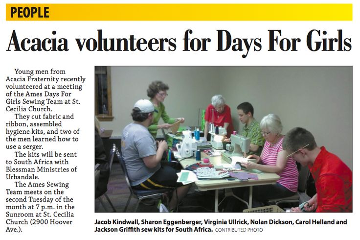 Back in April, the Ames, IA Sewing Team and the Acacia Fraternity members gatehred together to build 65 hygiene kits to send to Blessman Ministries in Urbandale. These kits were then delivered to South Africa thanks to Blessman Ministries.  They were featured in the Story County Sun! Thank you Mary for sharing the newsletter clip!