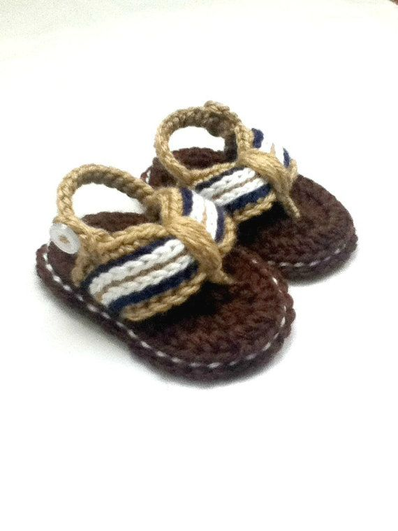 Baby Boy Crochet Flip Flops by sewuniquelycrocheted on Etsy, $14.00