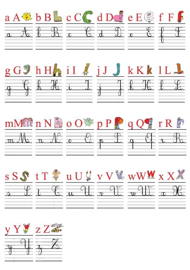 Une frise alphabétique (26 affiches A4) pour la classe avec l'alphabet des alphas et les 4 graphies des lettres (minuscules et majuscules scriptes et cursives) ainsi qu'un référent alphabétique pour les élèves.
