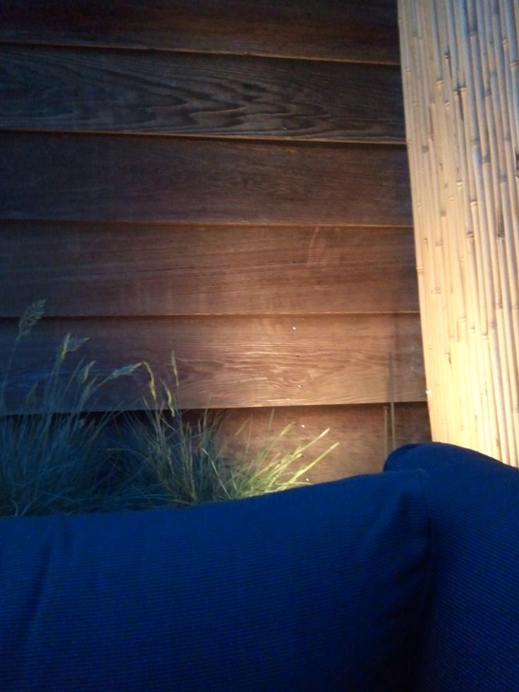 Indirect light on roof terrace wooden walls