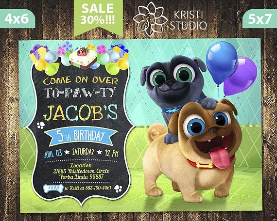 This Is A Puppy Dog Pals Birthday Invitation Of Personal Digital File For You To Print Your Dog Themed Birthday Party Boy Birthday Parties Birthday Invitations