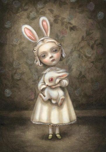 benjamin lacombe illustration: Bunnies Girls, Lacombe Illustrations, Alice In Wonderland, Benjamín Lacombe, Benjamin Lacombe, Art Illustration, Benjamin Lancomb, White Rabbit, Pop Surrealism