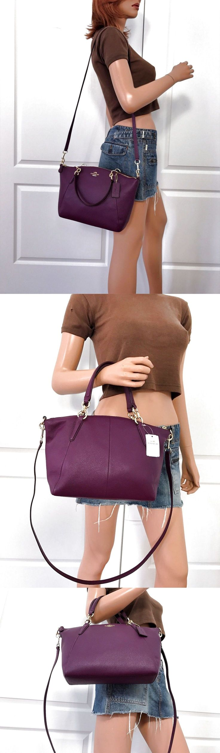NWT COACH PURPLE PEBBLED LEATHER SMALL SHOULDER SATCHEL CROSSBODY  BAG PURSE $159.0