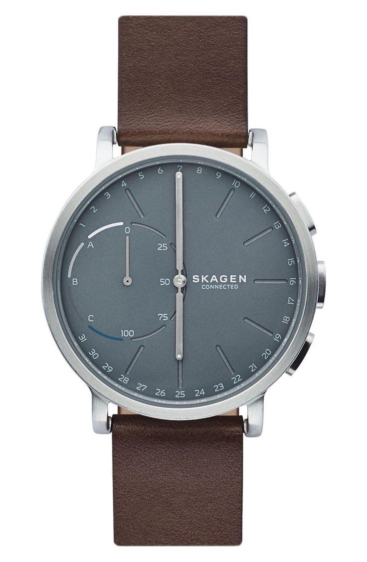 Main Image - Skagen Hagen Connected Hybrid Leather Strap Smart Watch, 42mm
