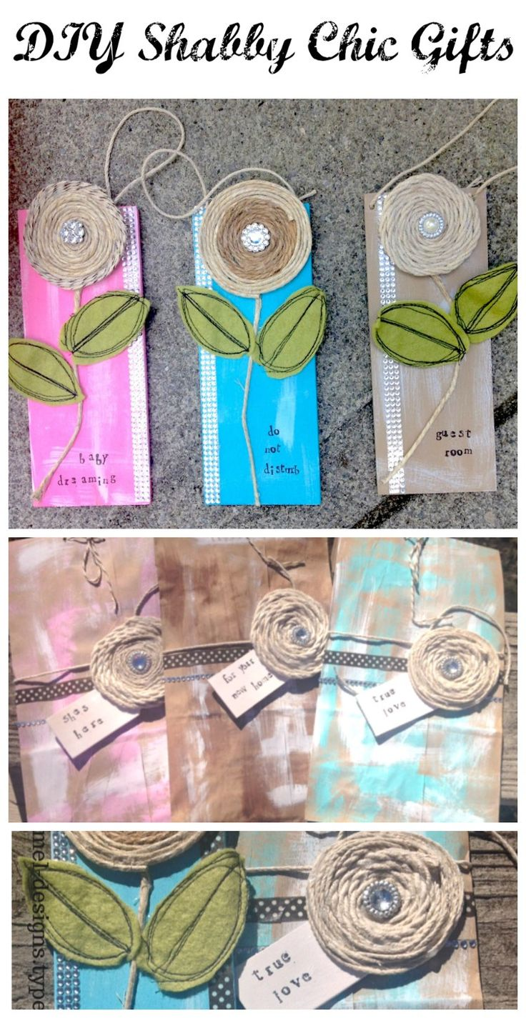 Shabby Chic gift tags and gift bags that you can make using fabric scraps, twine and paint