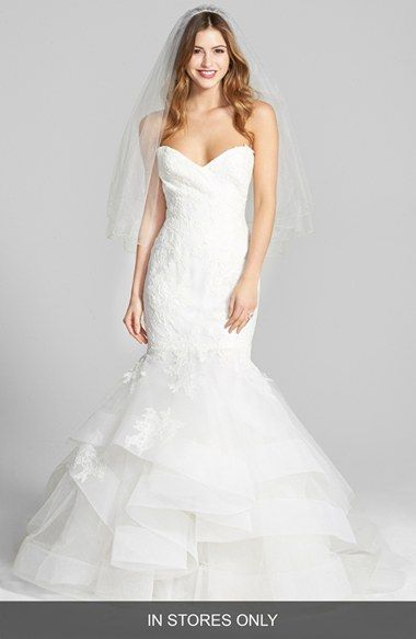 Free shipping and returns on BLISS Monique Lhuillier Lace & Tulle Mermaid Dress (In Stores Only) at Nordstrom.com. This wedding gown can't be purchased online but is available for special order in our in-store Wedding Suites. Please call 1.888.300.1295 to find one near you or Book an appointment online.Exquisite Chantilly lace flourishes on a gorgeous mermaid gown tailored for an enviable hourglass silhouette through the sweetheart bust, waist and hips before lofty tulle tiers layer frot...