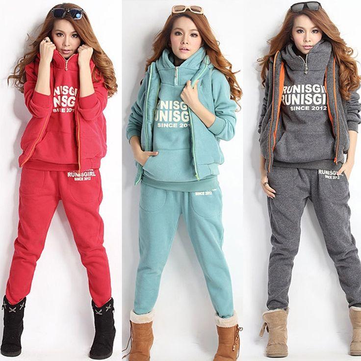 3Pcs Girl Warm Sport Hoodies Jumper Suit Tracksuit Thick Hoody+Vest+Pants 4 Size