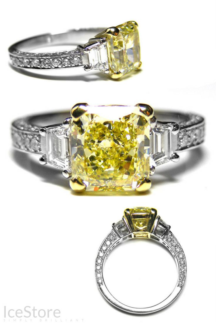 Natural Yellow Diamond Engagement Ring