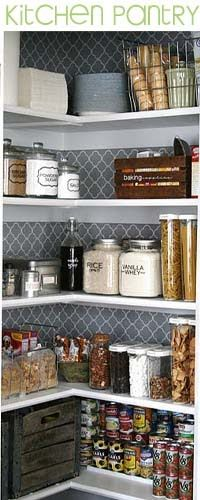 This is kind of the look I'm wanting for kitchen pantry. Use glass and wire storage. Also like the idea of putting maybe contact paper as wallpaper to add texture and design to wall. Add rope lights to inside of closet.