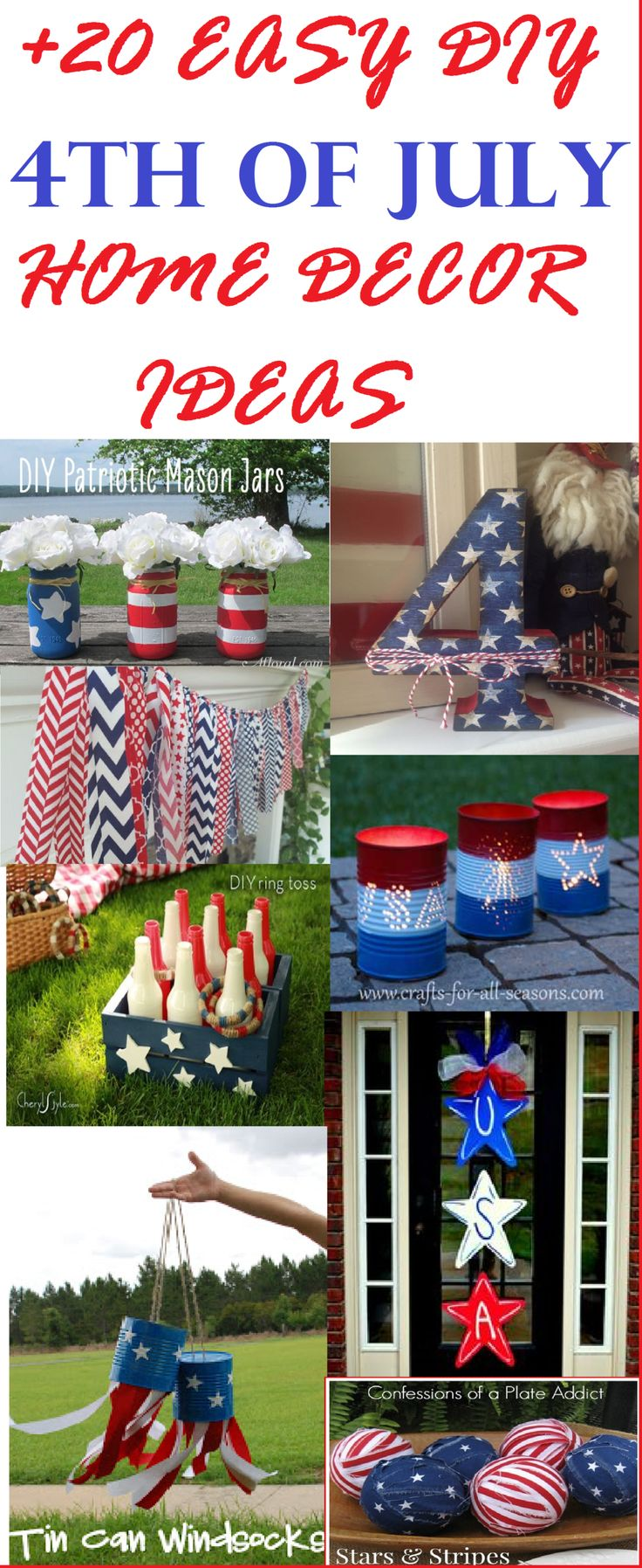 DIY your own July 4th holiday decor- Over 20 easy DIY 4th of July decorations...Thrifty Divas DIY