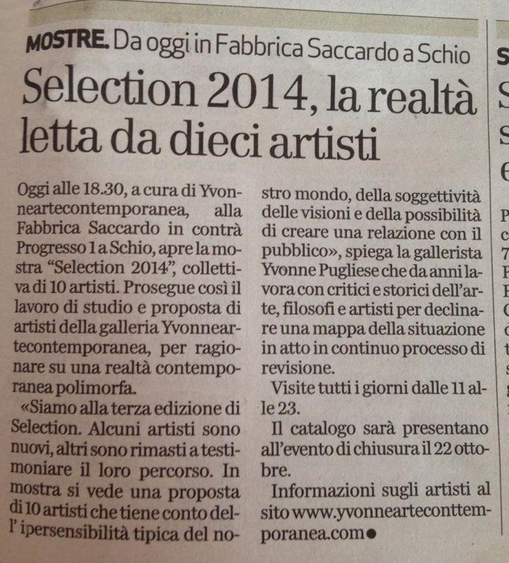 Selection 2014, Il Giornale di Vicenza 18.10.2013