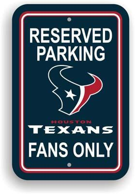 "Show your Texans team spirit proudly with this 12"" X 18"" Houston Texans Reserved Parking Sign. Each 12in x 18in parking sign is made of durable styrene. The NFL officially licensed parking sign is dec"