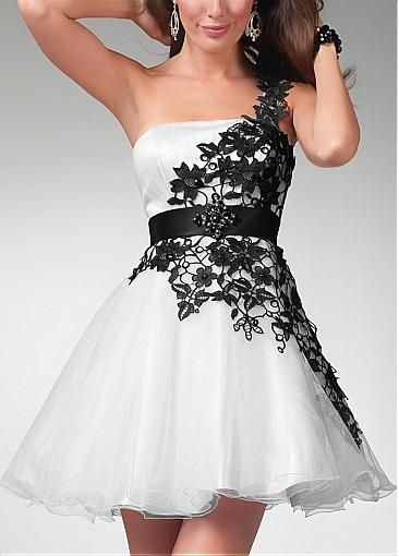 Cute Organza & Lace & Satin A-line One Shoulder Neckline Natural Waist Short Black and White Prom Dress  #Dressilyme