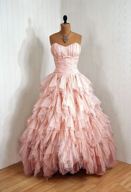 Vintage pink prom dress. Love the ruffles