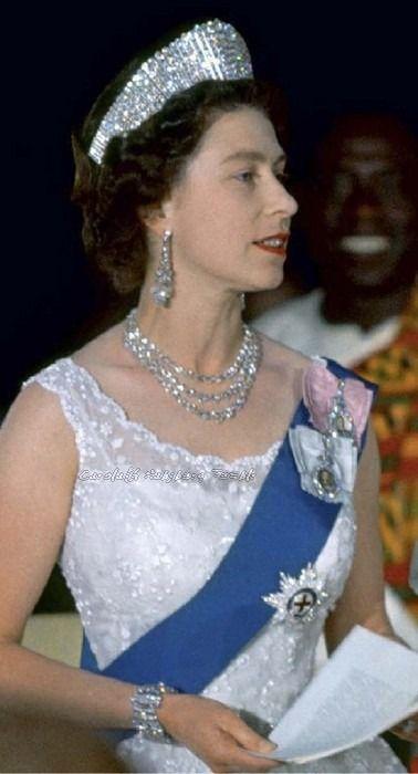 Gorgeous Queen Elizabeth in early 1960's. She's wearing Queen Alexandra's Kokoshnik tiara, the Greville diamond earrings, King George VI diamond necklace, her wedding bracelet, and various orders.