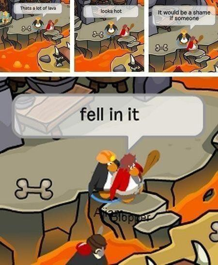 funny club penguin fell in lava