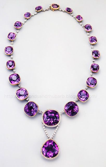 "Antique Siberian amethyst and diamond necklace.    ""Did you know that Amethysts from Siberia have pink fire?"""