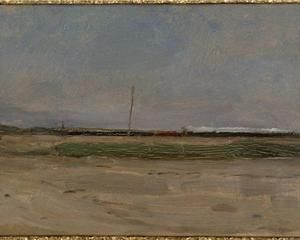 Polder Landscape with a Train and a Small Windmill on the Horizon, Piet Mondrian, 1906-1907.
