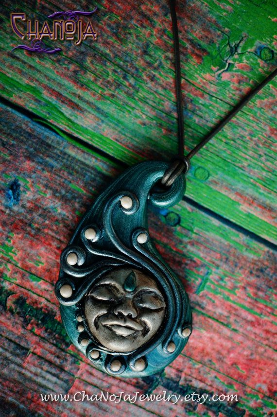 Moon Goddess Pendant-Fullmoon clay face by ChaNoJaJewelry on Etsy. Moon Goddess Fullmoon Magic Luna Clay Face Unique Jewelry. This pendant is created with much love and passion by Jael, the Ja-part of ChaNoJa :) What a magical energy this pendant radiates! Imagine a clear fullmoon night, the landscape shinging in an eerie silver light, and you beeing able to experience this magical moment!