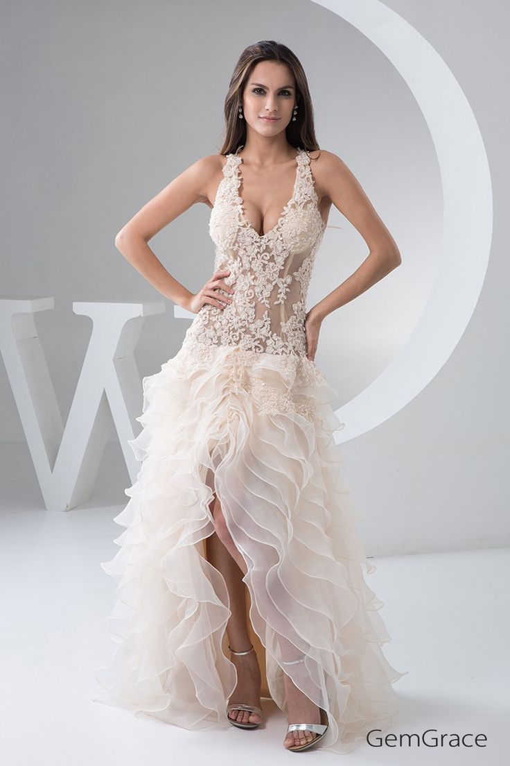 Great Sexy Long Halter Cross Back See through Lace Wedding Dress Split Front OPH GemGrace
