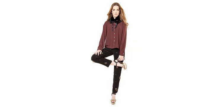 Embroidered trousers, maroon shirt and black fur collar. Lookbook Otoño / Invierno 2013 Lio de Faldas