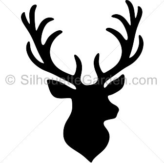 how to draw a deer head silhouette