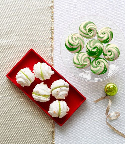 Delicate peppermint meringues are a fun and easy dessert with seasonal flavor. These little cookies will go quickly, so be ready to make extra if you want to share.