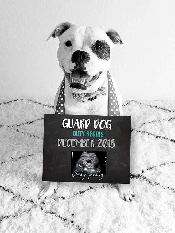 Wachhund, Baby Ankündigung, druckbare, digitale Datei, Schwangerschaftansage Digital angepasst neu – One day!!