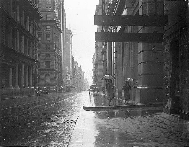Pitt Street on rainy day, c.1933 / by Sam Hood, State Library of New South Wales collection, via Flickr