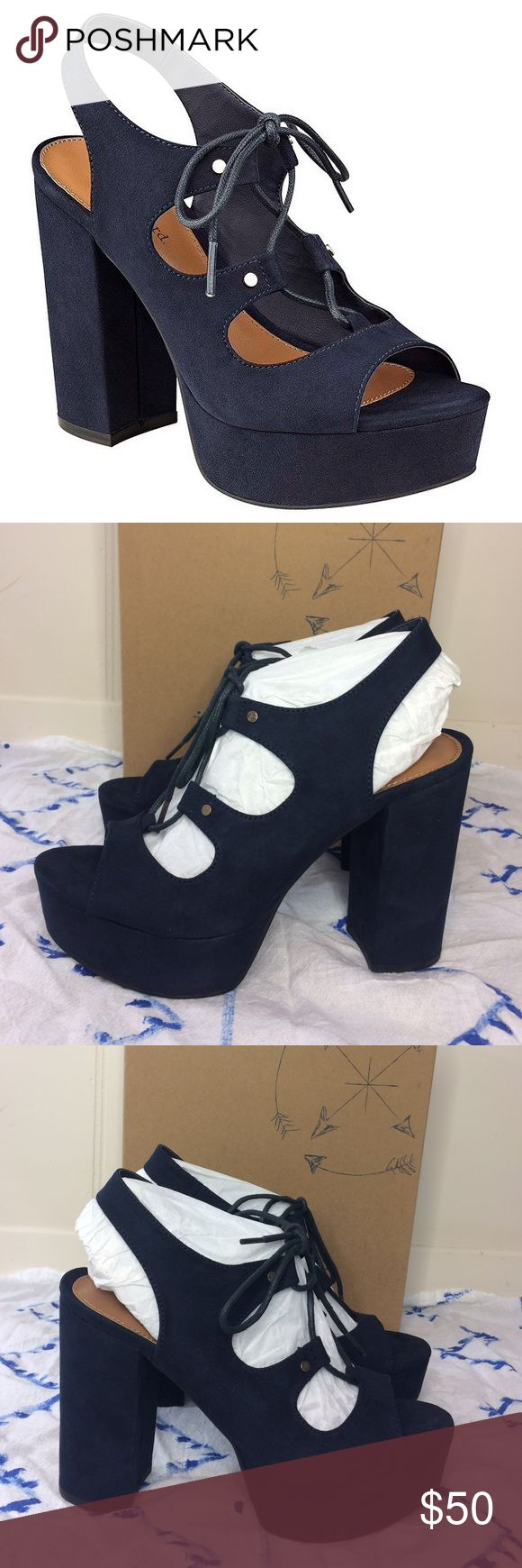 """NWT🔥 Indigo Rd Navy Blue Platform Ghille Sandals ✨New in the box!✨ • Indigo Rd """"Ebonee"""" Platform Ghille Sandals. • In the color """"Navy"""" • Has a 4 3/4"""" heel & 1 1/4"""" platform. • Size 8. • {If you have any questions please ask before buying} •Colors may vary slightly from pictures• Indigo Rd Shoes Platforms"""