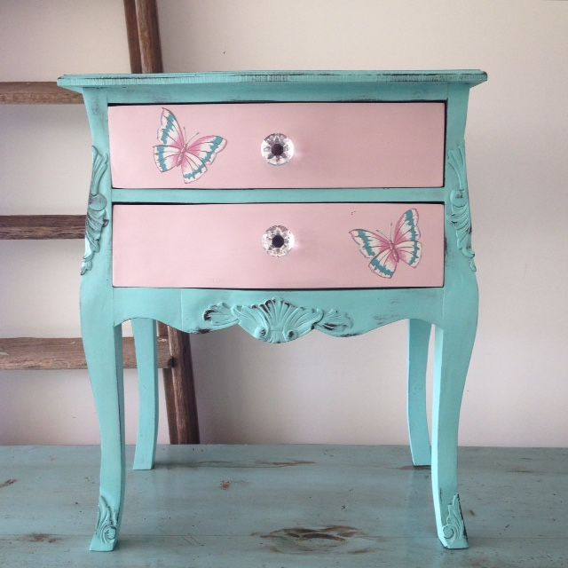 Girl's turquoise and pink bedside table. Florence & Antoinette Annie sloan chalk paint