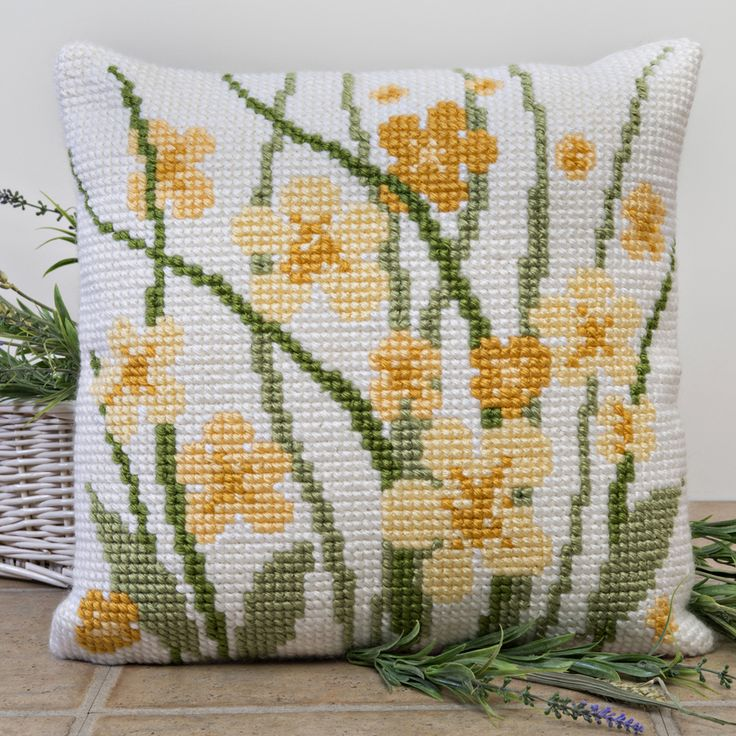 'Meadow Flowers' Cross Stitch Cushion Kit by Twilleys of Stamford.