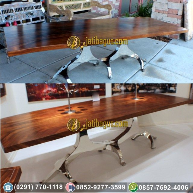 Meja Makan Kaki Besi - Stainless Solid Wood Trembesi