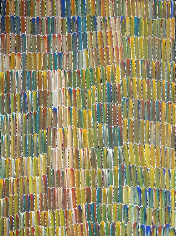 Anaty Bush Yam by Jeannie Mills Pwerle, 91x61 cm     #AboriginalArt