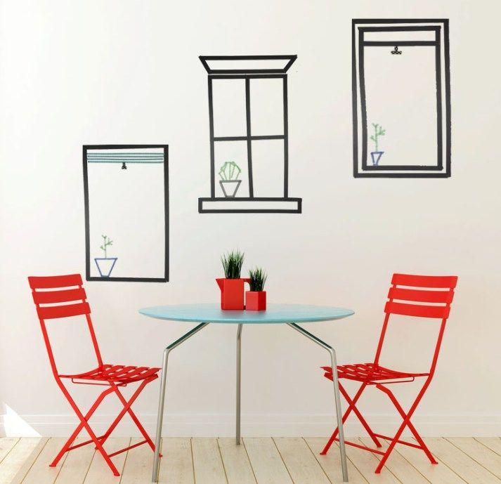 Fun Dorm Wall Art: Washi Tape Windows -