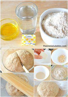 Pizza con harina Integral 300 g de harina integral -190 ml de agua -20 g de levadura fresca -2 cucharadas de aceite de oliva -pizca de sal Pueden hacerse y congelarse