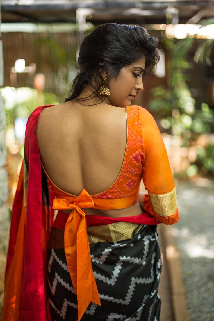 Orange ikat raw silk blouse with frills on sleeves #sexyback #houseofblouse #blouse