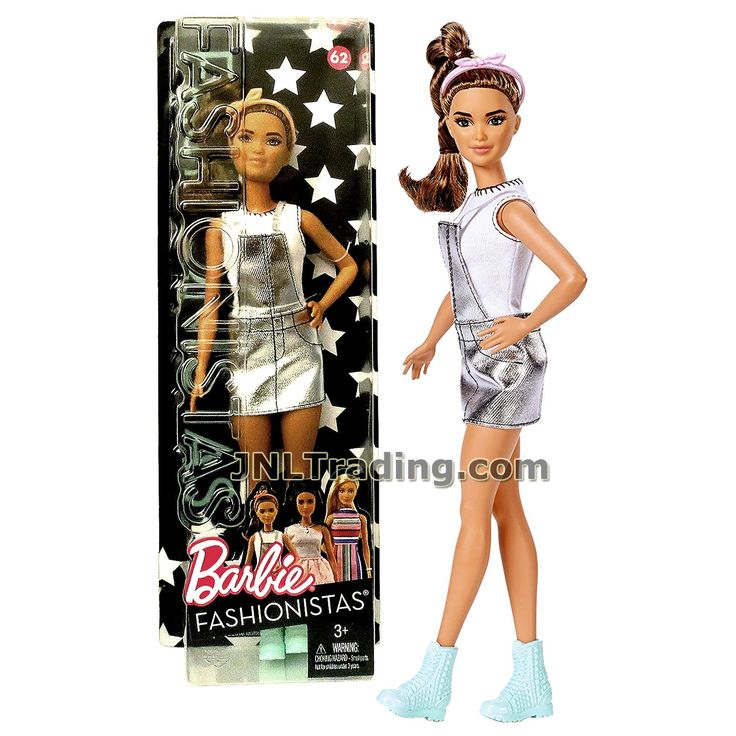 Barbie Year 2016 Fashionistas Series 11 Inch Doll - Petite Hispanic BARBIE DYY92 in Sweet for Silver Jumper Dress with Pink Hairband