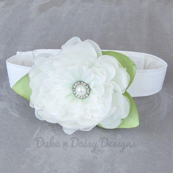 Flower Dog Collar Ivory Peony Flower Wedding by DukeNDaisyDesigns